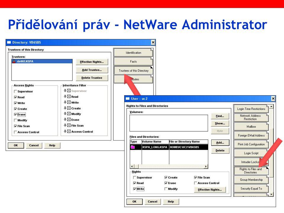 Přidělování práv - NetWare Administrator