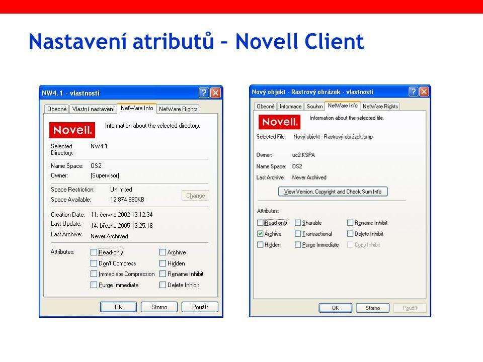 Nastavení atributů – Novell Client