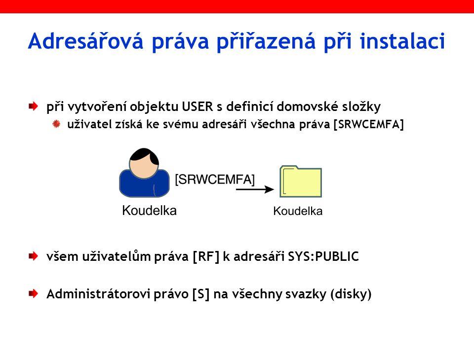 Adresářová práva přiřazená při instalaci při vytvoření objektu USER s definicí domovské složky uživatel získá ke svému adresáři všechna práva [SRWCEMF