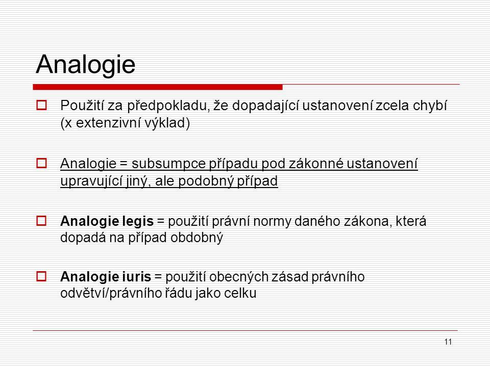 Analogie  Použití za předpokladu, že dopadající ustanovení zcela chybí (x extenzivní výklad)  Analogie = subsumpce případu pod zákonné ustanovení up