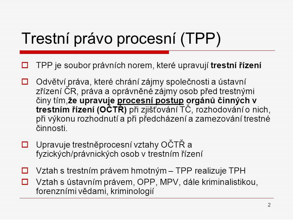 2 Trestní právo procesní (TPP )  TPP je soubor právních norem, které upravují trestní řízení  Odvětví práva, které chrání zájmy společnosti a ústavn