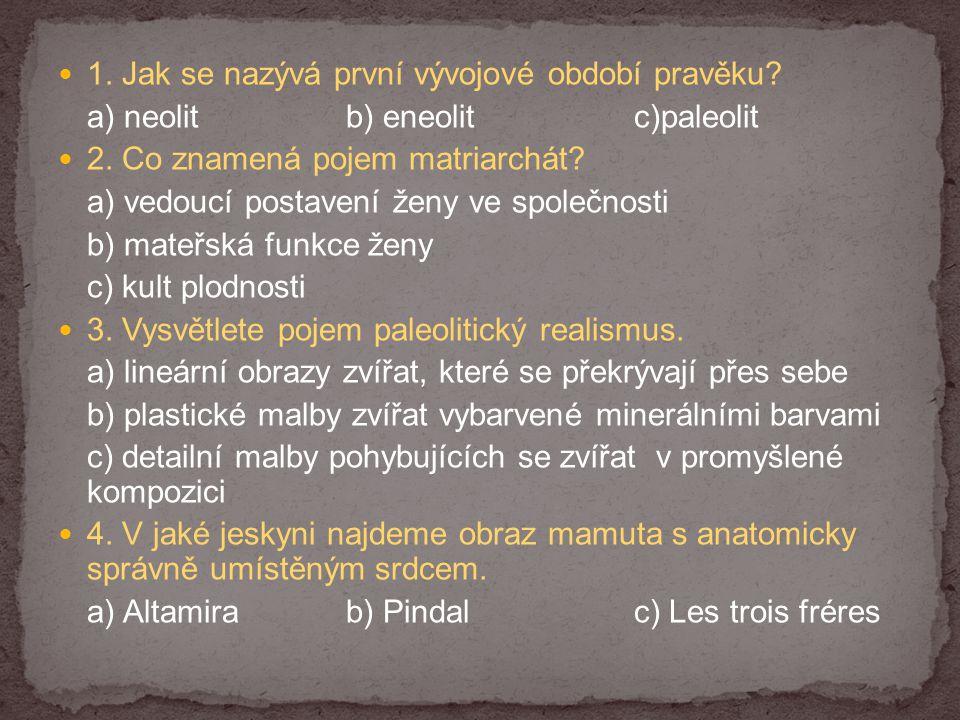 1. Jak se nazývá první vývojové období pravěku? a) neolitb) eneolitc)paleolit 2. Co znamená pojem matriarchát? a) vedoucí postavení ženy ve společnost