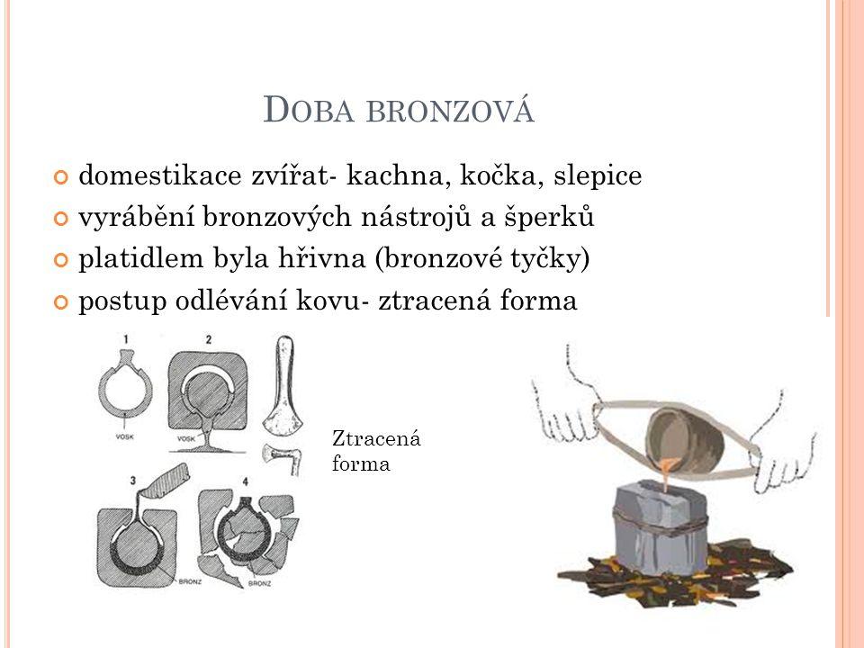 D OBA BRONZOVÁ domestikace zvířat- kachna, kočka, slepice vyrábění bronzových nástrojů a šperků platidlem byla hřivna (bronzové tyčky) postup odlévání