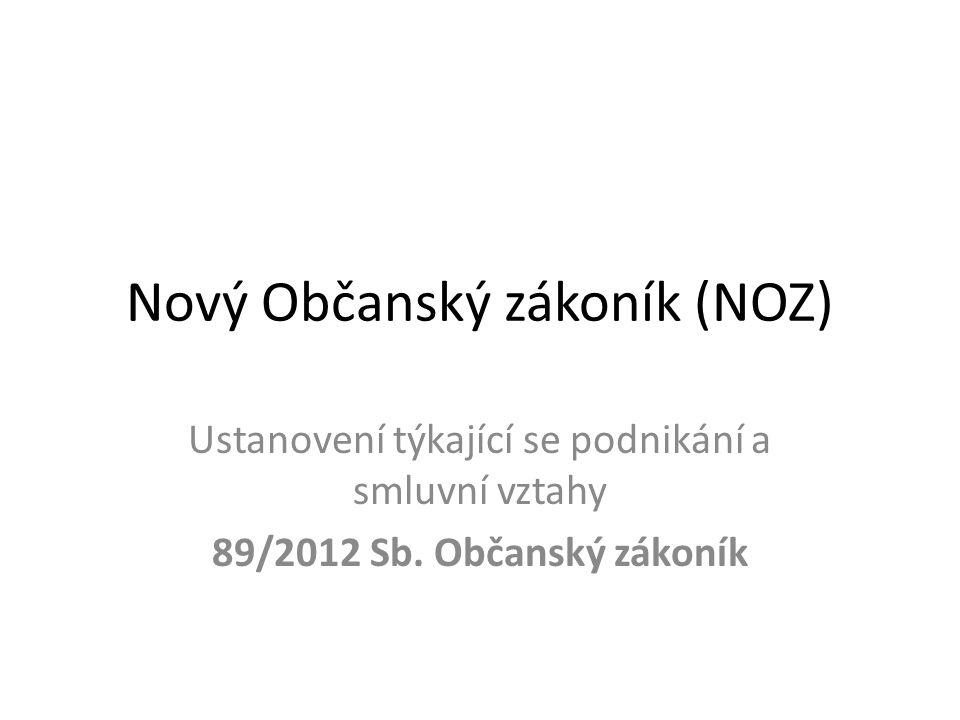 Nový Občanský zákoník (NOZ) Ustanovení týkající se podnikání a smluvní vztahy 89/2012 Sb. Občanský zákoník