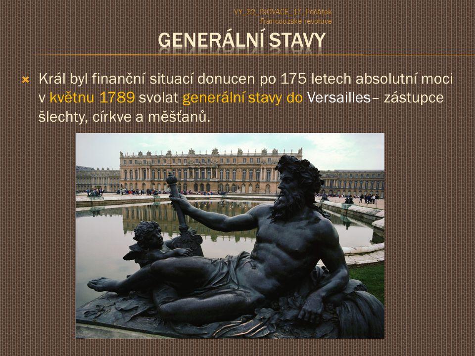  Král byl finanční situací donucen po 175 letech absolutní moci v květnu 1789 svolat generální stavy do Versailles– zástupce šlechty, církve a měšťanů.