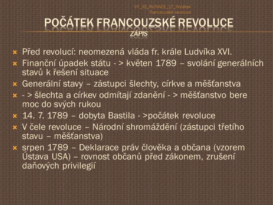  Před revolucí: neomezená vláda fr. krále Ludvíka XVI.