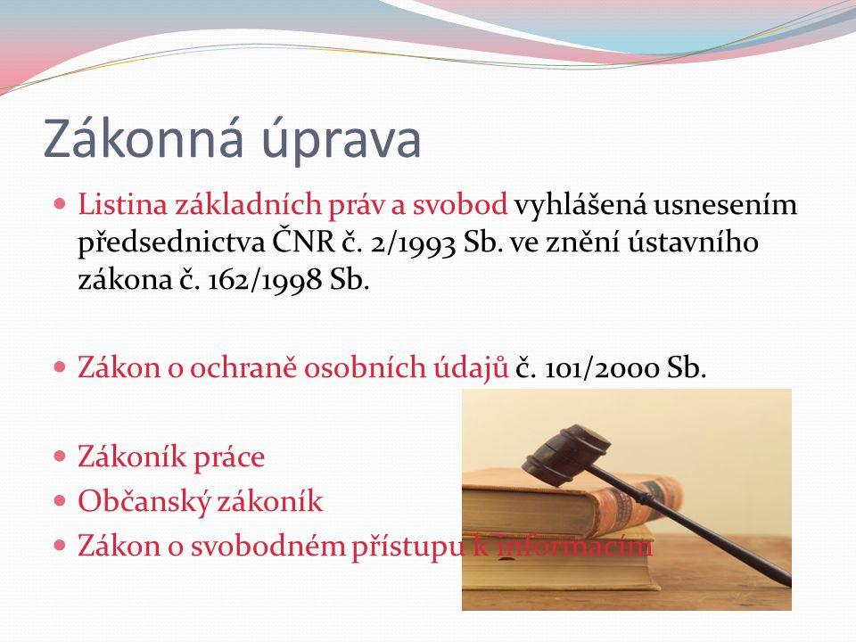 Zákonná úprava Listina základních práv a svobod vyhlášená usnesením předsednictva ČNR č. 2/1993 Sb. ve znění ústavního zákona č. 162/1998 Sb. Zákon o