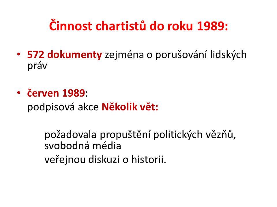 Činnost chartistů do roku 1989: 572 dokumenty zejména o porušování lidských práv červen 1989: podpisová akce Několik vět: požadovala propuštění politických vězňů, svobodná média veřejnou diskuzi o historii.