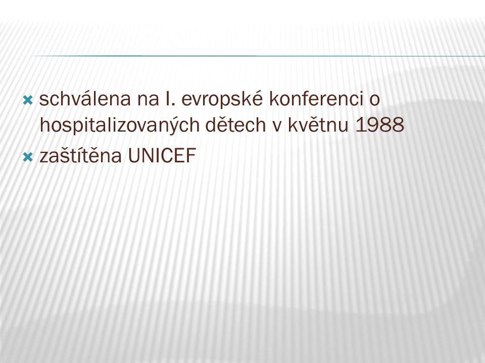  schválena na I. evropské konferenci o hospitalizovaných dětech v květnu 1988  zaštítěna UNICEF