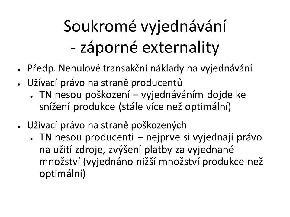 Soukromé vyjednávání - záporné externality ● Předp. Nenulové transakční náklady na vyjednávání ● Užívací právo na straně producentů ● TN nesou poškoze