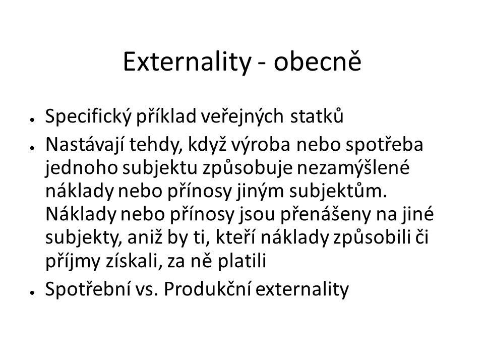 Externality - obecně ● Specifický příklad veřejných statků ● Nastávají tehdy, když výroba nebo spotřeba jednoho subjektu způsobuje nezamýšlené náklady