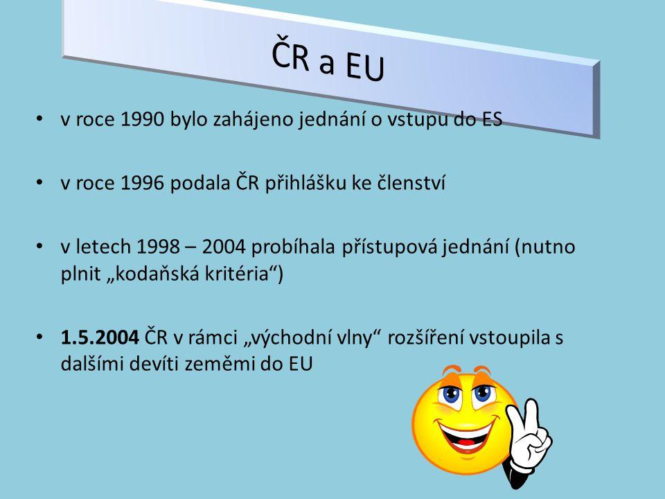 """v roce 1990 bylo zahájeno jednání o vstupu do ES v roce 1996 podala ČR přihlášku ke členství v letech 1998 – 2004 probíhala přístupová jednání (nutno plnit """"kodaňská kritéria ) 1.5.2004 ČR v rámci """"východní vlny rozšíření vstoupila s dalšími devíti zeměmi do EU"""