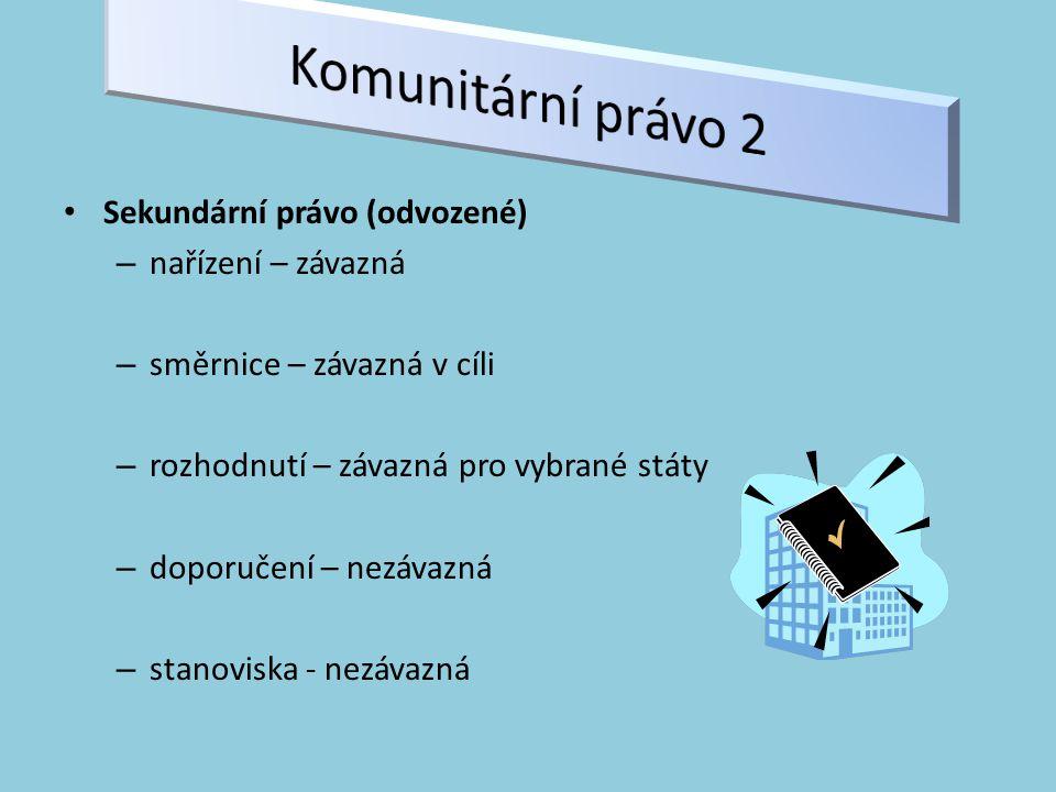 Sekundární právo (odvozené) – nařízení – závazná – směrnice – závazná v cíli – rozhodnutí – závazná pro vybrané státy – doporučení – nezávazná – stanoviska - nezávazná