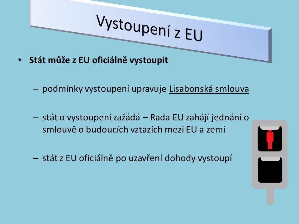Stát může z EU oficiálně vystoupit – podmínky vystoupení upravuje Lisabonská smlouva – stát o vystoupení zažádá – Rada EU zahájí jednání o smlouvě o budoucích vztazích mezi EU a zemí – stát z EU oficiálně po uzavření dohody vystoupí
