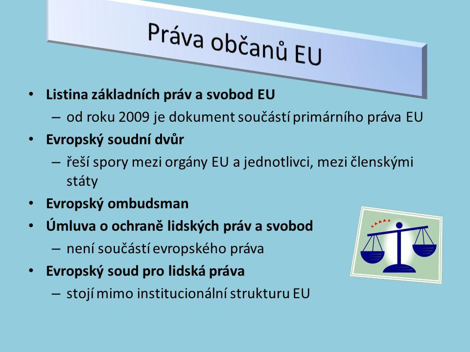 Listina základních práv a svobod EU – od roku 2009 je dokument součástí primárního práva EU Evropský soudní dvůr – řeší spory mezi orgány EU a jednotlivci, mezi členskými státy Evropský ombudsman Úmluva o ochraně lidských práv a svobod – není součástí evropského práva Evropský soud pro lidská práva – stojí mimo institucionální strukturu EU