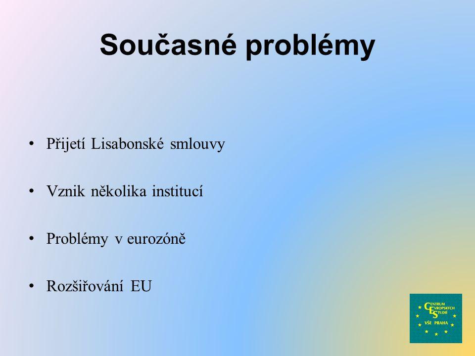 Současné problémy Přijetí Lisabonské smlouvy Vznik několika institucí Problémy v eurozóně Rozšiřování EU