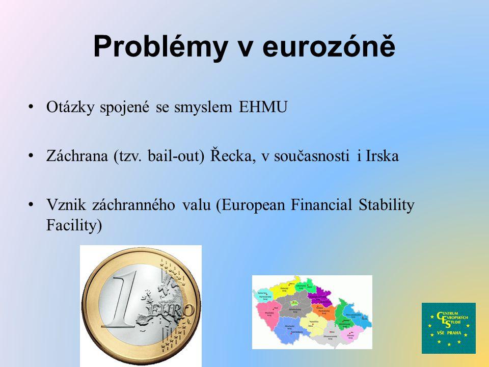 Problémy v eurozóně Otázky spojené se smyslem EHMU Záchrana (tzv. bail-out) Řecka, v současnosti i Irska Vznik záchranného valu (European Financial St