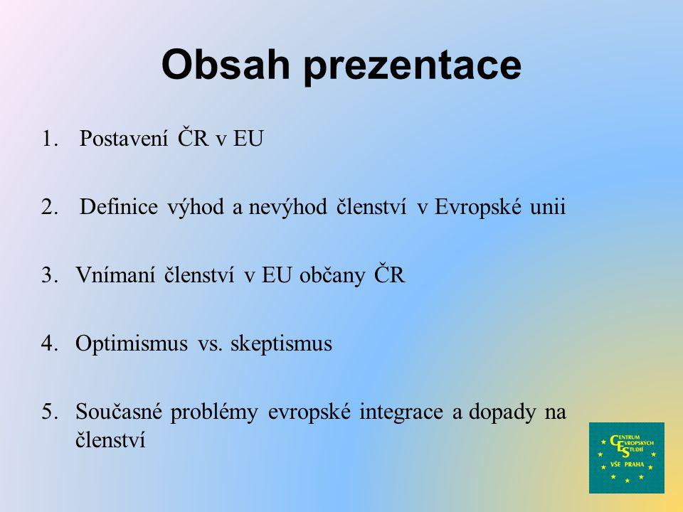 Obsah prezentace 1.Postavení ČR v EU 2.Definice výhod a nevýhod členství v Evropské unii 3.Vnímaní členství v EU občany ČR 4.Optimismus vs. skeptismus