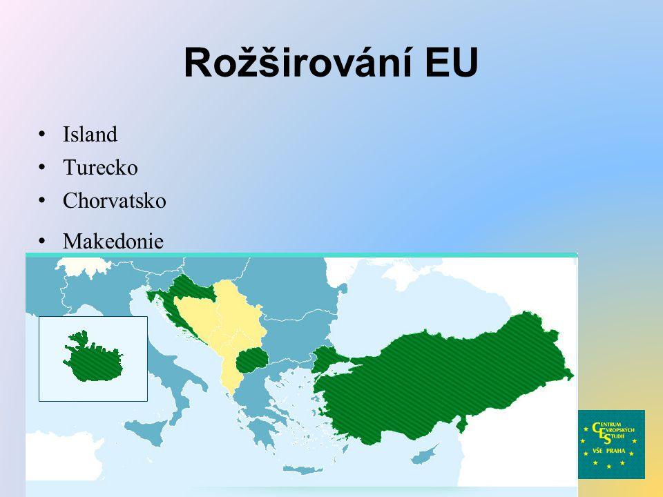 Rožširování EU Island Turecko Chorvatsko Makedonie