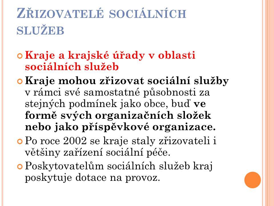 Z ŘIZOVATELÉ SOCIÁLNÍCH SLUŽEB Kraje a krajské úřady v oblasti sociálních služeb Kraje mohou zřizovat sociální služby v rámci své samostatné působnost