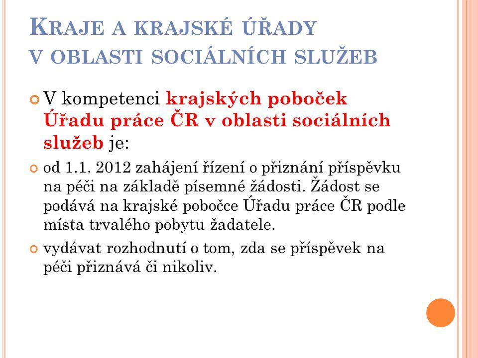 K RAJE A KRAJSKÉ ÚŘADY V OBLASTI SOCIÁLNÍCH SLUŽEB V kompetenci krajských poboček Úřadu práce ČR v oblasti sociálních služeb je: od 1.1. 2012 zahájení