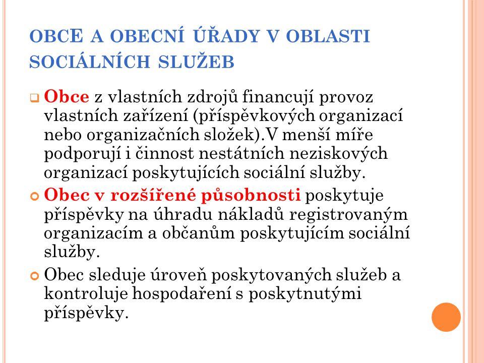 OBC E A OBECNÍ ÚŘADY V OBLASTI SOCIÁLNÍCH SLUŽEB  Obce z vlastních zdrojů financují provoz vlastních zařízení (příspěvkových organizací nebo organiza