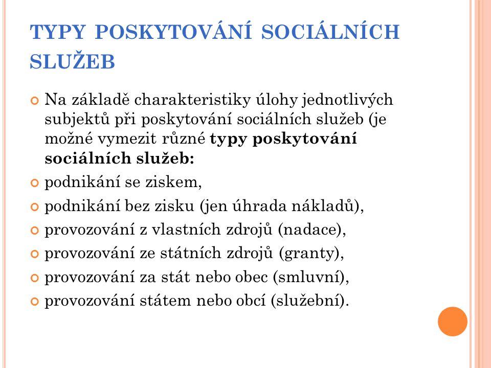 TYPY POSKYTOVÁNÍ SOCIÁLNÍCH SLUŽEB Na základě charakteristiky úlohy jednotlivých subjektů při poskytování sociálních služeb (je možné vymezit různé ty