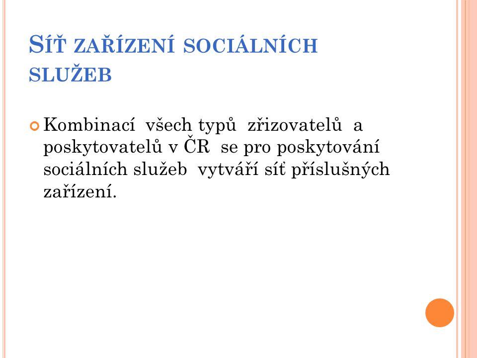 S ÍŤ ZAŘÍZENÍ SOCIÁLNÍCH SLUŽEB Kombinací všech typů zřizovatelů a poskytovatelů v ČR se pro poskytování sociálních služeb vytváří síť příslušných zař