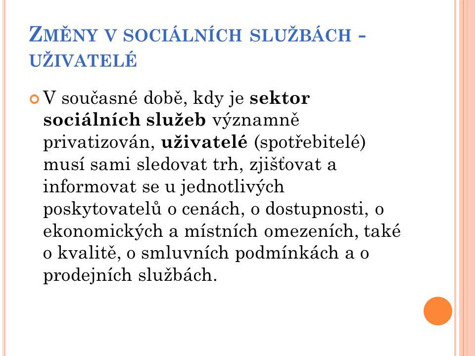 Z MĚNY V SOCIÁLNÍCH SLUŽBÁCH - UŽIVATELÉ V současné době, kdy je sektor sociálních služeb významně privatizován, uživatelé (spotřebitelé) musí sami sl