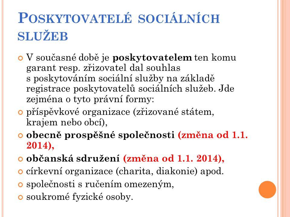 P OSKYTOVATELÉ SOCIÁLNÍCH SLUŽEB V současné době je poskytovatelem ten komu garant resp. zřizovatel dal souhlas s poskytováním sociální služby na zákl