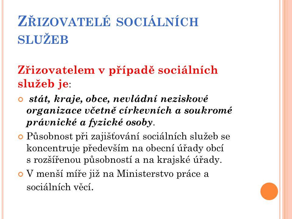 Z ŘIZOVATELÉ SOCIÁLNÍCH SLUŽEB Zřizovatelem v případě sociálních služeb je : stát, kraje, obce, nevládní neziskové organizace včetně církevních a souk