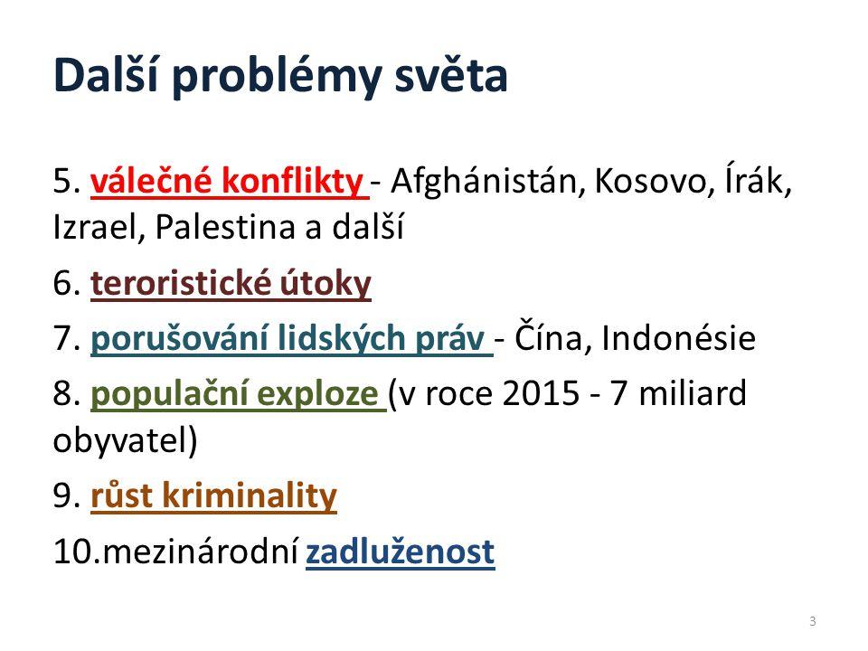 Další problémy světa 5.válečné konflikty - Afghánistán, Kosovo, Írák, Izrael, Palestina a další 6.