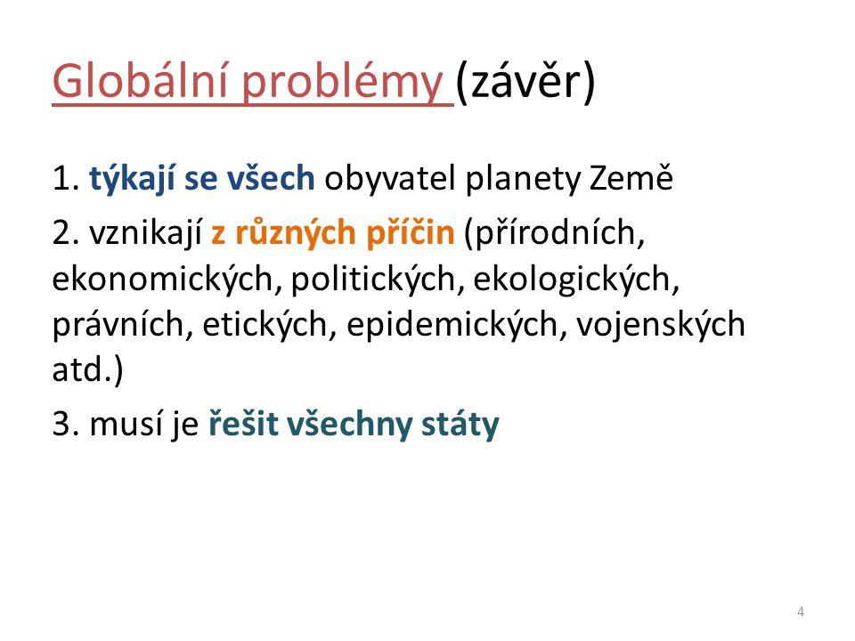 Globální problémy (závěr) 1.týkají se všech obyvatel planety Země 2.