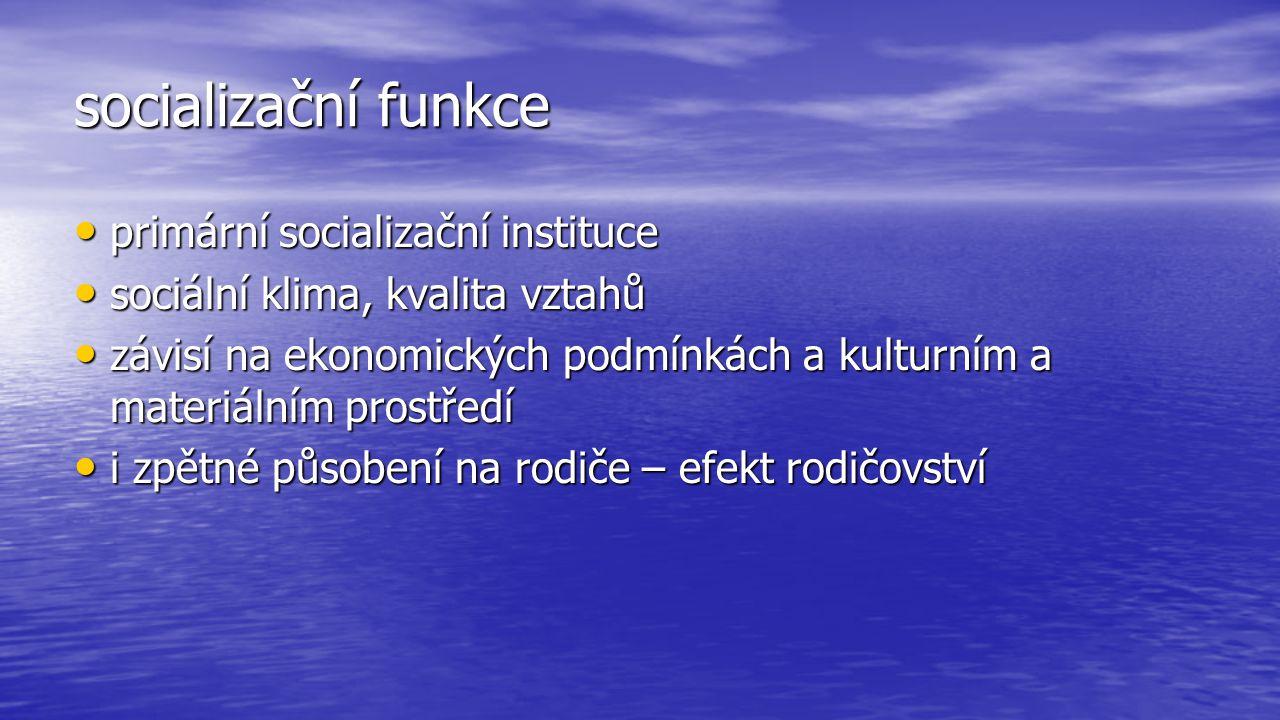 socializační funkce primární socializační instituce primární socializační instituce sociální klima, kvalita vztahů sociální klima, kvalita vztahů závi