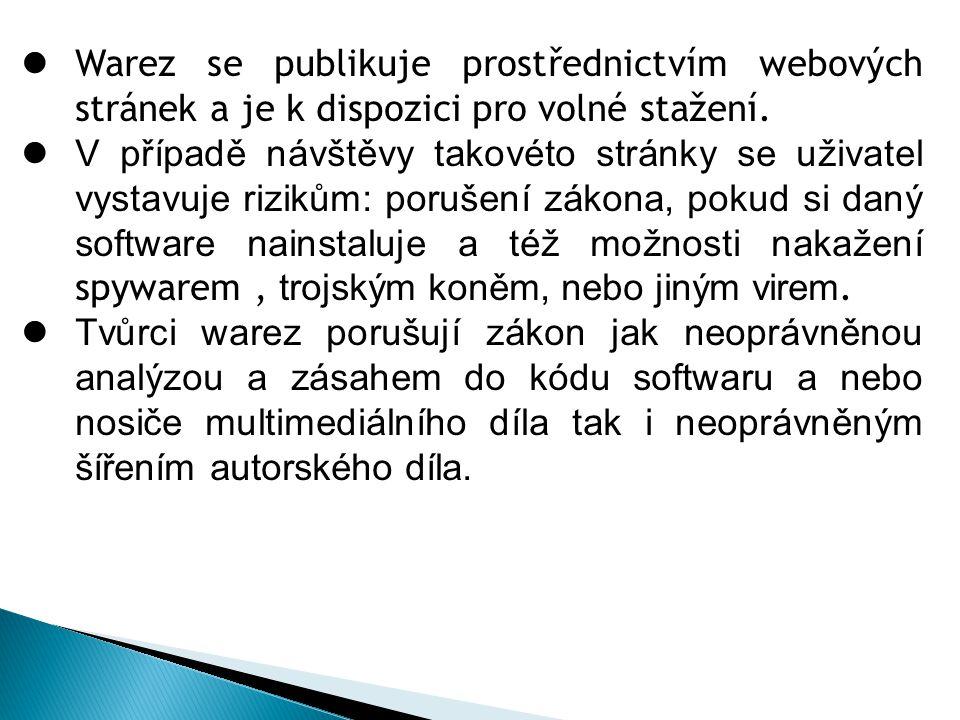 Warez se publikuje prostřednictvím webových stránek a je k dispozici pro volné stažení. V případě návštěvy takovéto stránky se uživatel vystavuje rizi