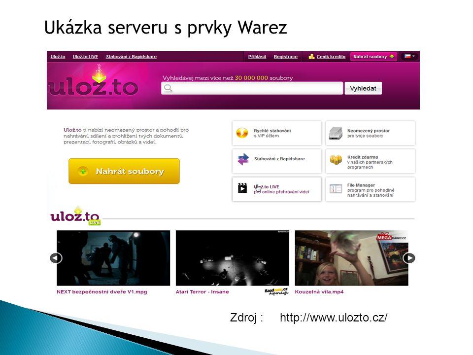 Ukázka serveru s prvky Warez Zdroj : http://www.ulozto.cz/