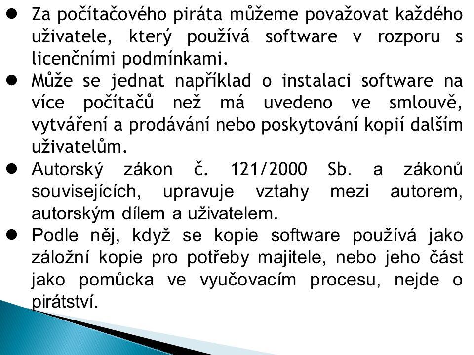 Za počítačového piráta můžeme považovat každého uživatele, který používá software v rozporu s licenčními podmínkami. Může se jednat například o instal