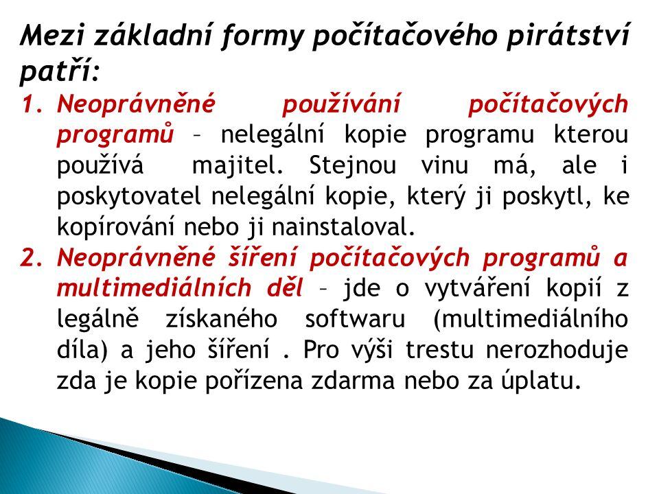 Mezi základní formy počítačového pirátství patří: 1.Neoprávněné používání počítačových programů – nelegální kopie programu kterou používá majitel. Ste