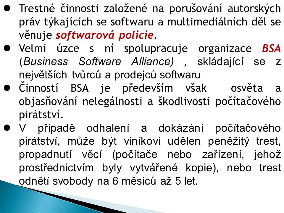 Trestné činnosti založené na porušování autorských práv týkajících se softwaru a multimediálních děl se věnuje softwarová policie. Velmi úzce s ní spo