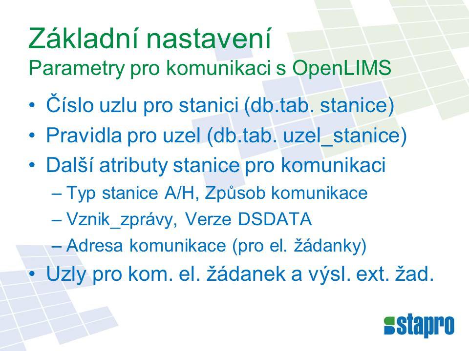 Základní nastavení Parametry pro komunikaci s OpenLIMS Číslo uzlu pro stanici (db.tab.