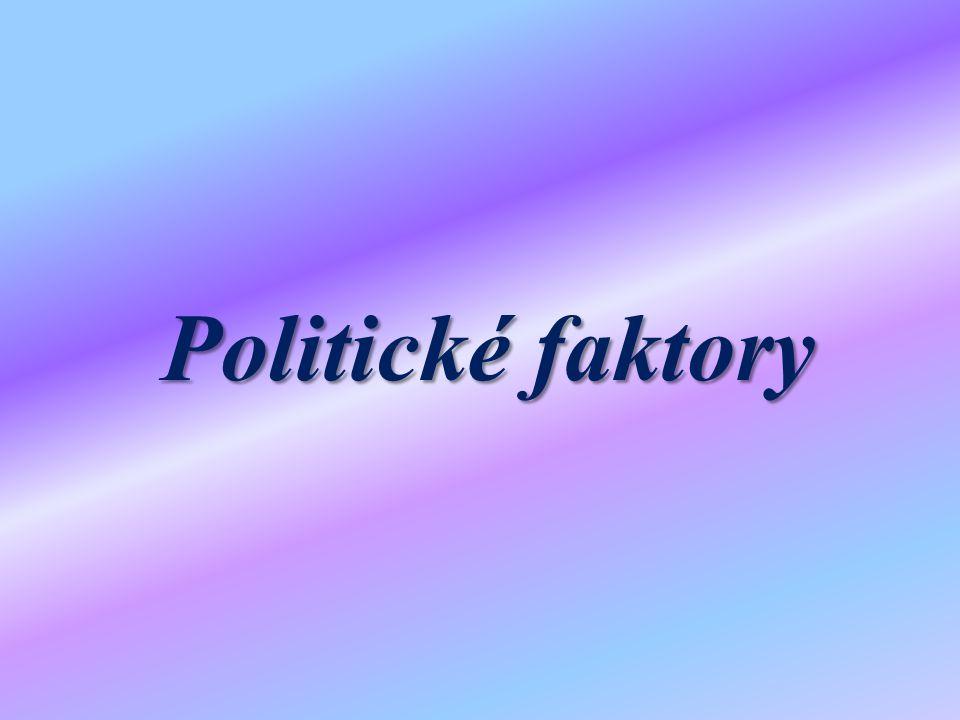 Politické faktory, které ovlivňují CR Politické faktory – obecně platí, že cestovní ruch (stejně jako jakákoli smysluplná lidská činnost) se ve větší míře rozvíjí v mírovém uspořádání světa Pak také záleží na vnitropolitické uvnitř země (regiónu) a na charakteru politického systému.