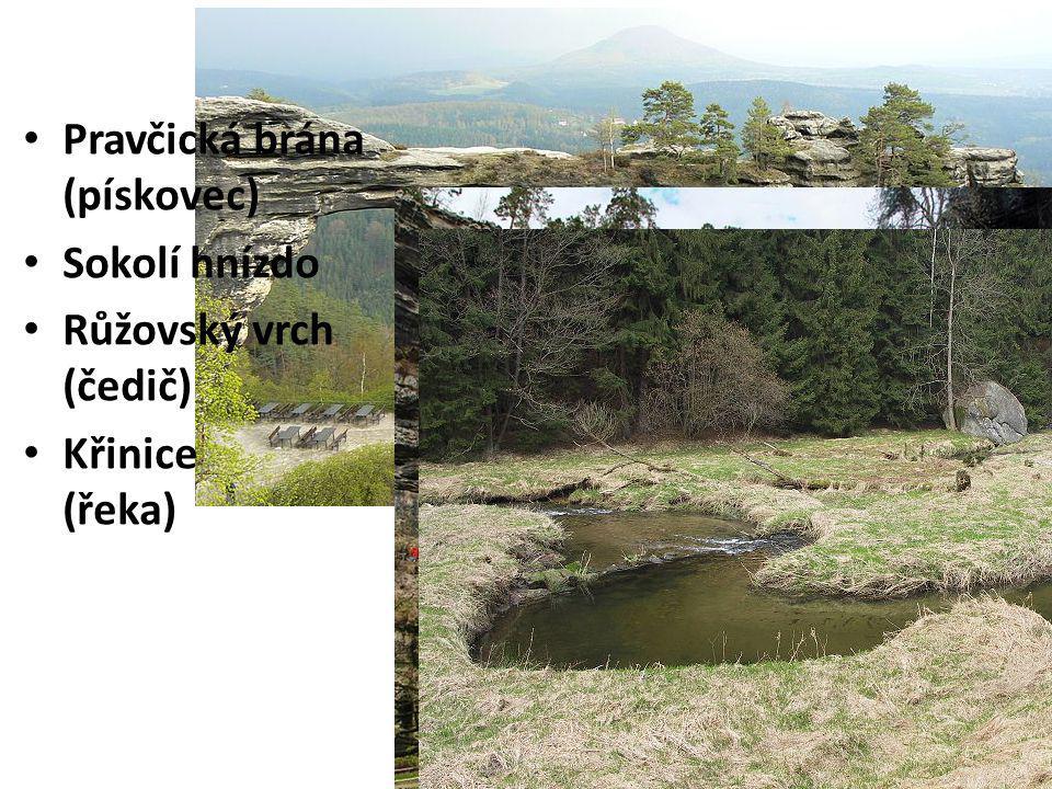 NP České Švýcarsko Pravčická brána (pískovec) Sokolí hnízdo Růžovský vrch (čedič) Křinice (řeka)