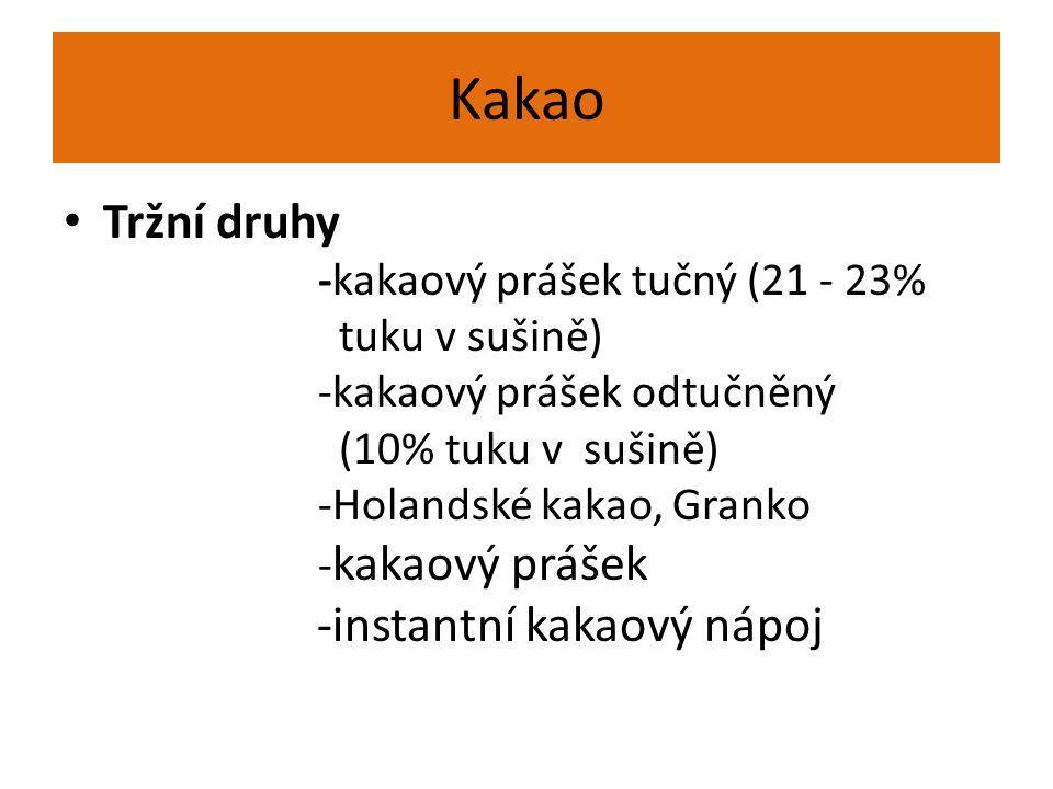 Kakao Tržní druhy -kakaový prášek tučný (21 - 23% tuku v sušině) -kakaový prášek odtučněný (10% tuku v sušině) -Holandské kakao, Granko - kakaový práš