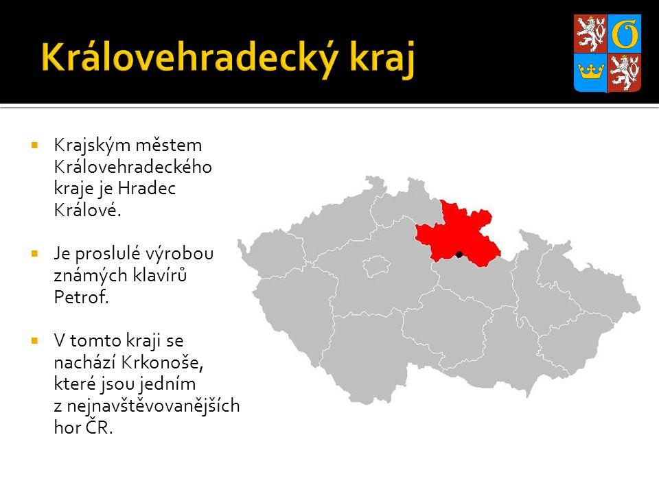  Krajským městem Královehradeckého kraje je Hradec Králové.  Je proslulé výrobou známých klavírů Petrof.  V tomto kraji se nachází Krkonoše, které