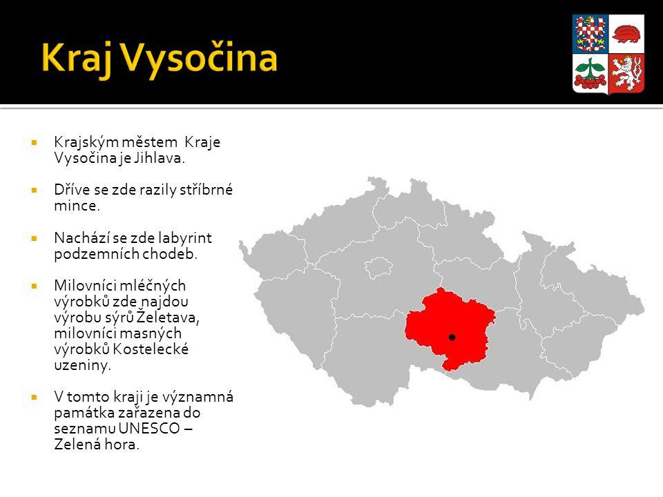  Krajským městem Kraje Vysočina je Jihlava.  Dříve se zde razily stříbrné mince.  Nachází se zde labyrint podzemních chodeb.  Milovníci mléčných v