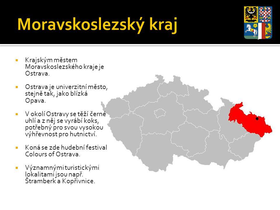 Krajským městem Moravskoslezského kraje je Ostrava.  Ostrava je univerzitní město, stejně tak, jako blízká Opava.  V okolí Ostravy se těží černé u