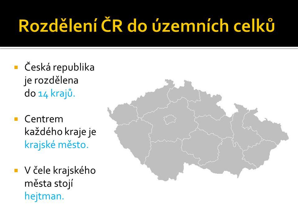  Česká republika je rozdělena do 14 krajů.  Centrem každého kraje je krajské město.  V čele krajského města stojí hejtman.