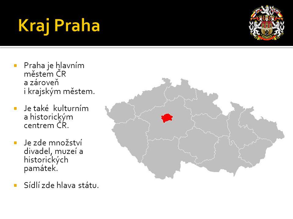  Praha je hlavním městem ČR a zároveň i krajským městem.  Je také kulturním a historickým centrem ČR.  Je zde množství divadel, muzeí a historickýc