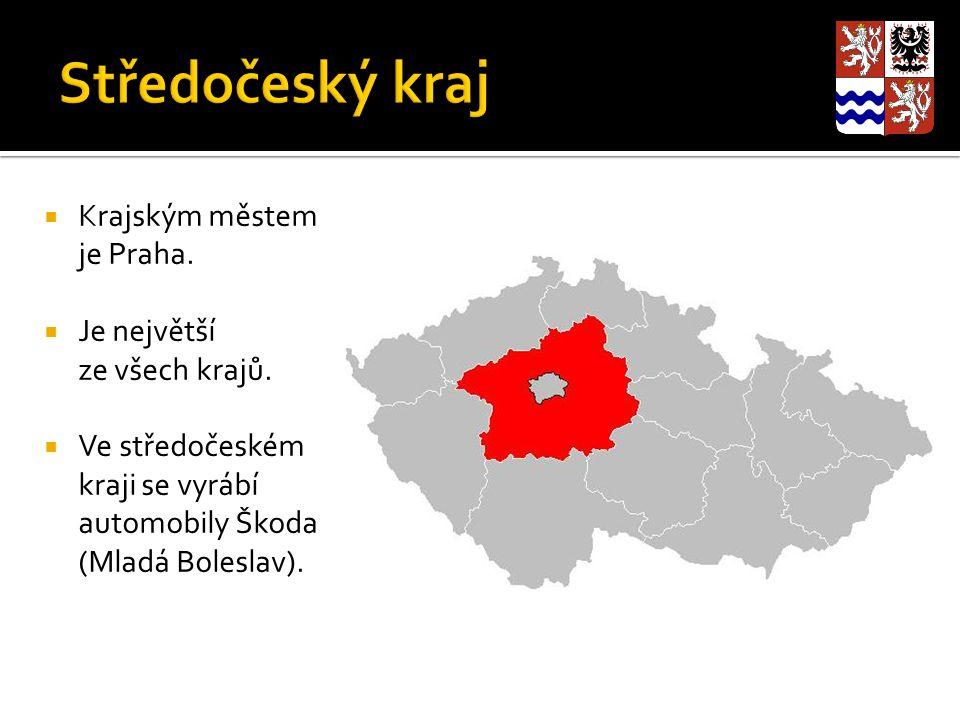  Krajským městem je Praha.  Je největší ze všech krajů.  Ve středočeském kraji se vyrábí automobily Škoda (Mladá Boleslav).