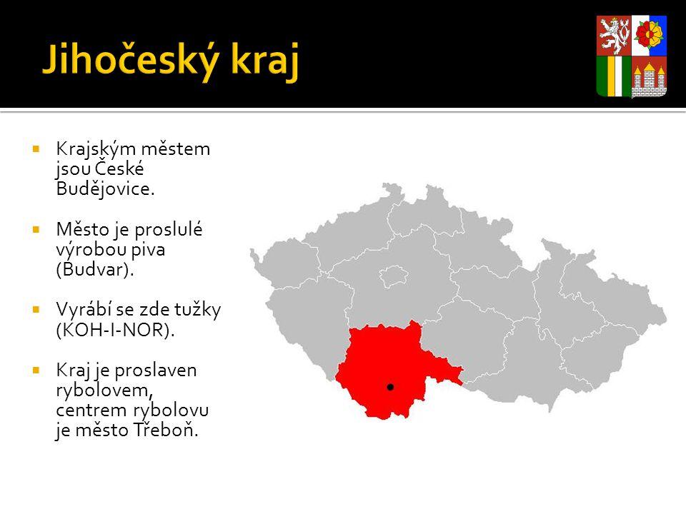  Krajským městem jsou České Budějovice.  Město je proslulé výrobou piva (Budvar).  Vyrábí se zde tužky (KOH-I-NOR).  Kraj je proslaven rybolovem,